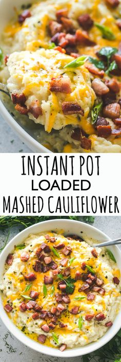 Instant Pot Loaded Mashed Cauliflower Cheesy garlicky flavor loaded mashed cauliflower prepared in the Instant Pot This is the perfect most delicious low-carb swap for mashed potatoes instantpot keto mashedcauliflower cauliflowermashedpotatoes Cauliflower Mashed Potatoes, Cauliflower Recipes, Broccoli Cauliflower, Instant Pot Pressure Cooker, Pressure Cooker Recipes, Slow Cooker, Pressure Cooking, Keto Foods, 7 Keto