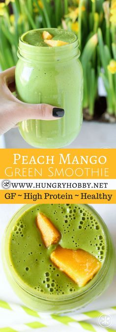 Looking for a nutrient dense way to start your day?  Try this #glutenfree and high protein peach mango #smoothie that is full of nutrients, refreshing, and super filling! #breakfast #healthy #lunch #smoothiebowl #hungryhobby via @hungryhobby