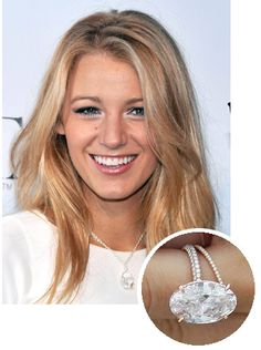 Blake Lively's 12 carat oval cut diamond engagement ring from Ryan Reynolds 2012