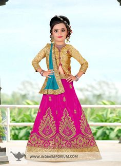 Sensible Dark Pink & Turquoise #Blue #Embroidered #Kids #Lehenga #Choli