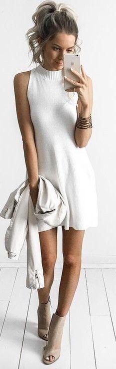 #summer #feminine #outfits | Knit Dress White