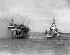 USS PRINCETON (CVL-23) - Sunk October 23, 1944. Bombed during the Battle of Leyte Gulf near the Philippines. A highly skilled, lone Japanese pilot placed a bomb squarely between 6 armed torpedo bombers being readied for takeoff on the flight deck.