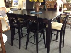 Bar Height Dinette Set - Bar height Expresso table and 6 chairs. Also includes a leaf.  Item 1304-1.   Price $550.00.       - http://takeitorleaveit.co/2016/09/10/bar-height-dinette-set/
