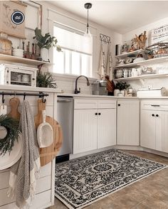 Farmhouse Kitchen Inspiration, Kitchen Dining, Kitchen Cabinets, Black White Rug, Kitchen Decor Themes, Home Decor, Kitchen Ideas, Shed To Tiny House, Machine Washable Rugs