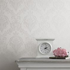 Damask White Shimmer Wallpaper by Graham and Brown