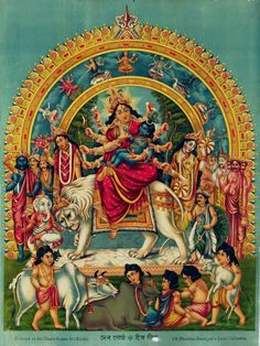 Devi Durga and her Family with Little Krishna in her Lap (via the Old Indian Arts)