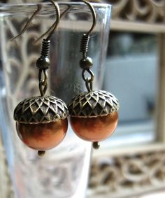 Acorn earrings copper Swarovski pearls nature by botanicalbird