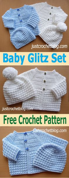 FREE - CROCHET - crochet baby glitz coat-hat ~ size 0-3 mos.