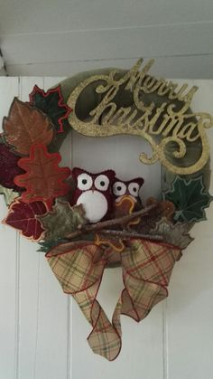 Embroidered leaves and owls wreath