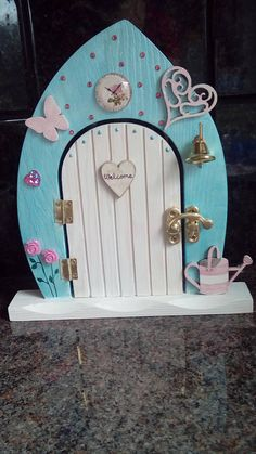 Your place to buy and sell all things handmade Fairy Garden Doors, Fairy Doors, Fairy Gardens, Create A Fairy, Door Crafts, Crafts With Pictures, Wooden Hearts, Tooth Fairy, Diy Dollhouse