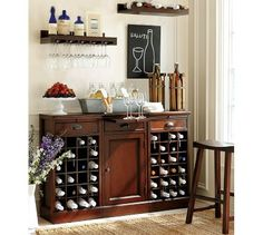 Love this Pottery Barn wine bar set up