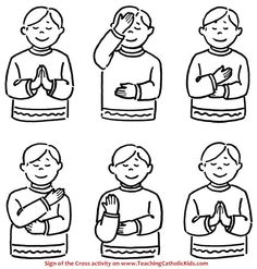 """Try this coloring page and activity to help young children learn the Sign of the Cross. Kids sometimes get confused about which shoulder to touch first (in the Latin Rite it is the left; in the Eastern Rites it is opposite). One trick is to teach them to """"cross over first"""" when making the Sign of the Cross. This works when using the right hand in the Latin style."""