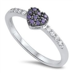 Sterling Silver Cute Amethyst Heart Design Ring Sz 4-10 105548123456 for only $8.99