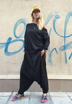 New SS/15 Women Black Jumpsuit - Trousers /  Loose Casual  Drop Crotch Harem Pants / Extravagant  Harem Pants by SSDfashion