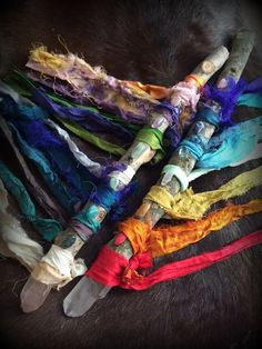 Magical Wands - Handcrafted with rainbow silk, gemstones, and crystal tips #DIY-Crafts