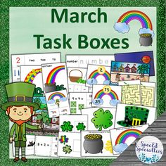 March St. Patrick's Day Task Boxes - Literacy, Math, Basic Skills, Fine Motor Autism Classroom, Classroom Activities, Fun Activities, Positive Behavior Management, Touch And Feel Book, Special Education Behavior, Self Contained Classroom, Task Boxes, Teacher Organization