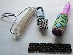 Approachable Art by Judi Hurwitt: How- To: Making Your Own Stamps!  Continuous roller stamps...use fun foam and punches, punch out little shapes and line on roller or on a block for a mini print