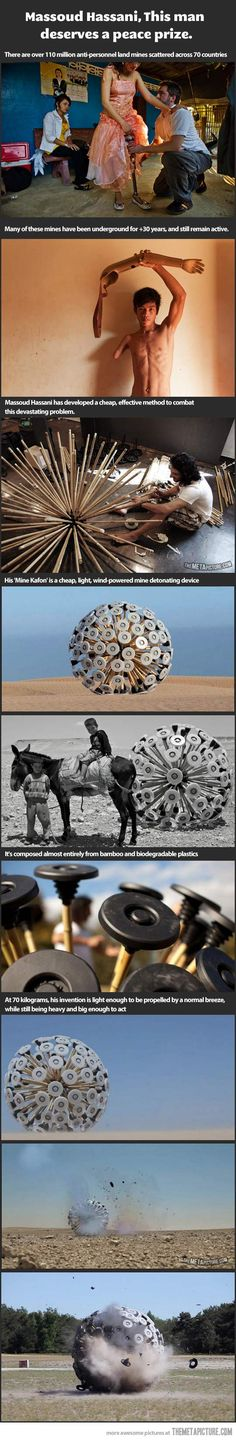 Man creates a safe way to deactivate long buried land mines... Faith in humanity