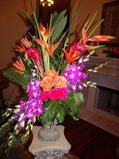 Tropical flowers in vase