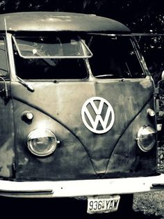 Gray scale Vintage VW Bus