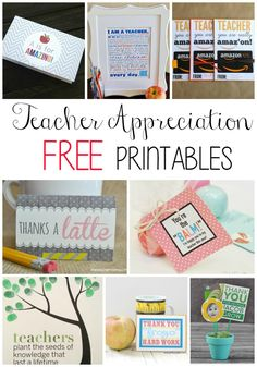 Teacher Appreciation FREE Printables! DIY Teacher Gifts and Crafts to show some love to your teachers!