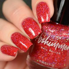 There are two things that a woman needs for a rockin' holiday party: bold red lips and Christmas red nails. This red polish in our Mega Flame finish is full of Red Polish, Glitter Nail Polish, Holographic Glitter, Nail Polish Colors, Acrylic Nails, Shellac Nails, Pastel Nails, Nail Polishes, Holiday Nails