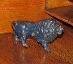 Original 1910 -1920 Antique Vtg Hubley Blue Lion Cast Iron Toy Still Penny Bank