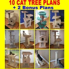 MAKE A CONDO TOWER Do-It-Yourself 10 CAT TREE PLANS DIY +2 BONUS scratching post