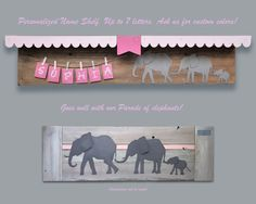 For a great nursery or kids room, this wall shelf is perfect for an elephant themed decor. 30 shelf that comes with up to 7 letters. Shelf color is Nursery Wall Shelf, Nursery Room, Nursery Decor, Baby Room Shelves, Elephant Themed Nursery, Art Base, Unique Baby, Baby Decor, Custom Art