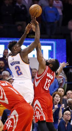 Anthony Morrow (2) takes the last shot for Oklahoma City against Houston s  James Harden (13) during an NBA basketball game between the Oklahoma City  Thunder ... 52f5c0bbe
