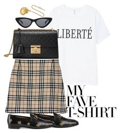 """Untitled #5157"" by theeuropeancloset ❤ liked on Polyvore featuring Burberry, Le Specs, Gucci, Alighieri and MyFaveTshirt"