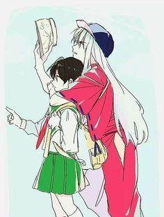 InuYasha (犬夜叉)- Inuyasha x Kagome A Feudal Fairy Tale (戦国御伽草子 犬夜叉) Amor Inuyasha, Inuyasha Funny, Inuyasha Fan Art, Inuyasha And Sesshomaru, Kagome And Inuyasha, Kagome Higurashi, Miroku, Me Anime, Anime Life