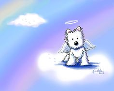 Westie At Rainbow Bridge art print by KiniArt