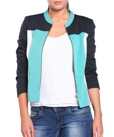 Colour+block+aqua+collarless+jacket+by+Street+Vogue+on+secretsales.com