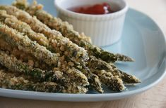 Level 1 & 2 Crunchy Asparagus Fries  1 bunch asparagus, washed and ends removed 1 egg ½ cup almond flour, plus 2 tablespoons ¼ cup flax seed meal or finely ground flax seed ¼ cup pine nuts ½ teaspoon onion powder ½ teaspoon garlic powder ½ teaspoon sea salt pepper to taste  Saved from: http://www.nakedavocado.com/