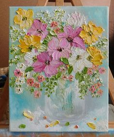 Cosmos Oil Impasto Painting, Cosmos Summer Mix Flowers Simple Oil Painting, Acrylic Painting Flowers, Texture Painting, Painting & Drawing, Art Floral, Happy Art, Painting Inspiration, Flower Art, Art Drawings