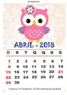 Calendário 2018 para imprimir - Tema Corujas - Aluno On
