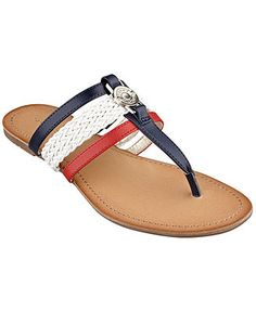 AT MACY's...in 'Luggage Multi', NOT red white and blue Tommy Hilfiger Women's Liz Thong Sandals. 9 1/2