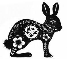 Rabbit woodcut, maybe
