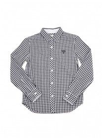 Long-sleeved gingham shirt Dark blue