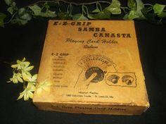 $1.96 E-Z Grip Samba Canasta Playing Card Holders in Original Box Vintage Poker Bridge #EZGripSambaCanasta