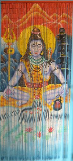Hand Painted Beaded Bamboo Curtain- Shiva