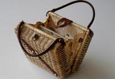 Wicker Box Bag / Designer MR JONAS handbag / leather by BOULOTDODO
