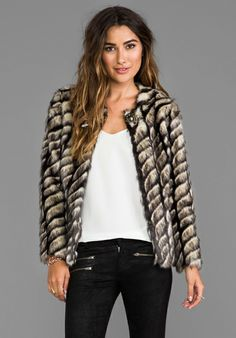 TWELFTH STREET BY CYNTHIA VINCENT Shadows and Light Faux Fur Jacket in Grey - Jackets & Coats