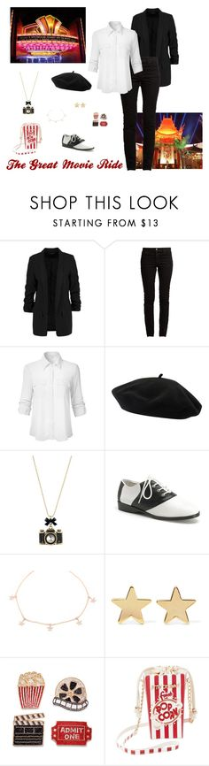 """The Great Movie Ride Inspired"" by disney-nerd-designs ❤ liked on Polyvore featuring Disney, Valentino, Goorin, Betsey Johnson, Funtasma, Jennifer Meyer Jewelry and Frontgate"