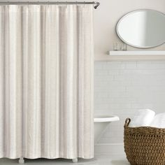 Vintage Stripe Washed Belgian Linen Shower Curtains. Available in Natural and Blue. #vintage #linen #stripe #showercurtain