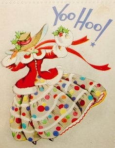 #yoohoo Vintage Christmas Girl. Retro Christmas Card. 1940's Christmas Card.