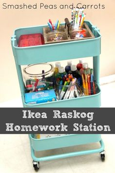 Turn the rolling Raskog cart into a homework station. | 31 Brilliant Ikea Hacks Every Parent Should Know