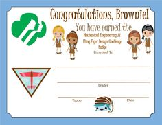 Brownie Girl Scout Way Badge Certificate Brownie Pet Badge, Girl Scout Brownie Badges, Brownie Girl Scouts, Girl Scout Leader, Girl Scout Troop, Scout Mom, Boy Scouts, Girl Scout Patches, Girl Scout Activities