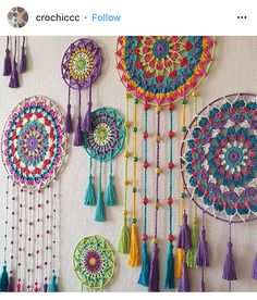 Easy Bohostyle Dream catchers bright color knitted dream catchers handmade wall decor home decor wall hanging dream catcher Doily Dream Catchers, Dream Catcher Craft, Motif Mandala Crochet, Crochet Patterns, Mandala Yarn, Crochet Dreamcatcher Pattern, Dream Catcher Patterns, Crochet Wall Hangings, Deco Boheme